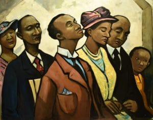 Andre Smith painting called Churchgoers Eatonville